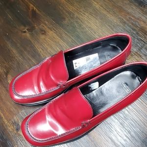 Coach Rita red patent leather penny loafers 8.5